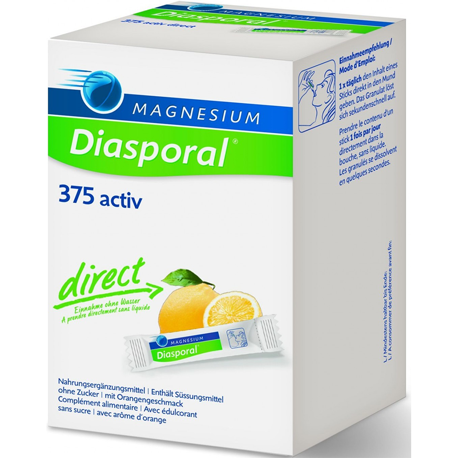 Magnesium Diasporal Activ, Direct Zitrone Sticks 375 mg 60 Sticks.