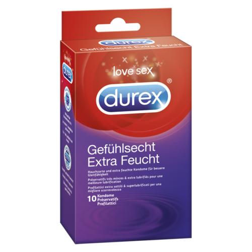 Durex Gefuehlsecht Praeservativ Extra Feucht 10 St